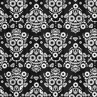 Sugar Skull Damask Shower Curtain | PLASTICLAND