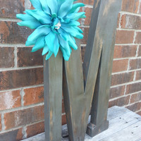 "Cottage chic large letter ""M"". Hand finished with a rustic shabby wood look assented with handmade flower"