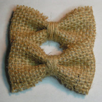 Burlap baby size hair bow,  fabric barrette for teens and women,french barrette, hair bows , Burlap hair clip, Burlap