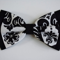 Black and White Damask Pattern Hair bow, Hair Bows,Fabric bows, Kids and adults,