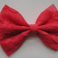 Hair Bow Coral Color Lace Hair Bow, Salmon Color Hair Bow, hair bows, hairbows, bows for girls, women,lace bow,red bow,bows, salmon lace bow