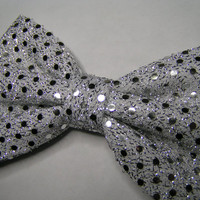 White sequin hair bow, Big hair bow, Hair clips, Hair bows for women kids and teens, Lace hair Bow