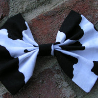 Hair Bow - Retro style Cow print black and white hair bow for teens and women, Hair bows for girls,big hair bow,extra large bow,large bow