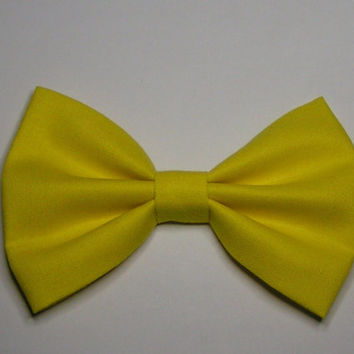 Neon Yellow Hair Bow, Fabric Hair Bow, Hair Bow clip, Hair Bow
