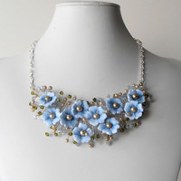 Beaded Wire Necklace Light Blue Flower Necklace Floral Jewelry Something Blue Wedding Accessories Blue Bridal Statement Necklace