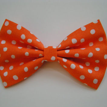 Orange Bow, Fabric Bows, Hair Bow clip, Hair Bow,Yellow bow, Polka dots, Hair bows for girls, bows in hair