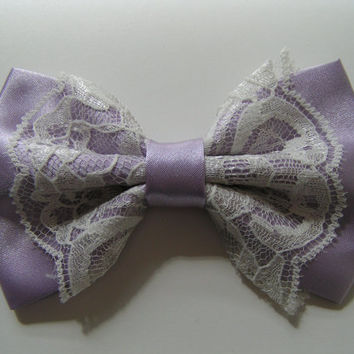 Hair Bow - Lavender Color Satin and Ivory Lace Hair Bow, fabric hair bow, large fabric bow, hair barrette, satin bow