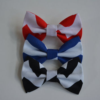 Set of three-hair bows, Red/White Chevron, Blue/White Chevron, and Black/White Chevron Small Hair Bow Set.