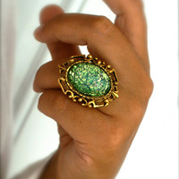 Green Fire Opal Ring Vintage Glass Cabochon in a Vintage Adjustable Ornate Ring Setting Antiqued Gold