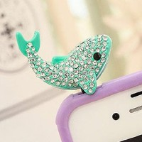 T&LOL High quality MINT Cute Lovely Full Diamond Dolphin Pattern Bling Shine Shinning Flash Crystal Diamond Pendant charm Earphone Stopper Jack Accessory antidust anti dust plug Ear Hole Cap Jack For Samsung Galaxy SIV S4 i9500 / Samsung i9100 i9300 N7100