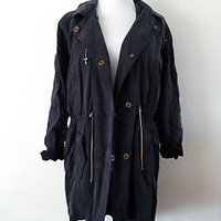 NWT ZARA TRF LONG PARKA COATS JACKETS BLACK Size M