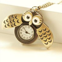 retro bronze owl pocket watch necklace from adaliawu