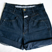 High Waisted Dark wash denim shorts 7/8