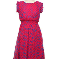 Keyhole Zig Zag Dress - Pink