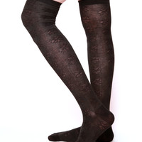 K. Bell Floral Bliss Knee Socks -  Black
