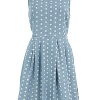 Blue spot print denim dress - New In Dresses - View All - Dresses - Dorothy Perkins