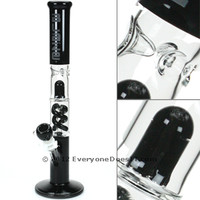 Blaze Glass Percolator Ice Bong - Spiral Perc Black