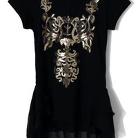 Black Short Sleeve Top with Sequin Baroque Front Detail