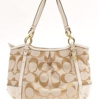 Coach Alexandra Chain Signature Tote 20807 Light Khaki White