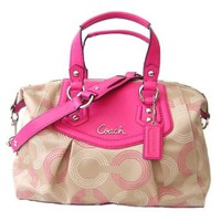 Coach Ashley Dotted Op Art Purse Satchel Shoulder Handbag Khaki Pink