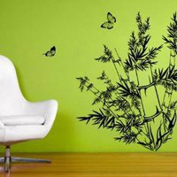 Vinyl Art Wall Decals Tattoos--- BAMBOO and BUTTERFLIES--Home Decor Murals Stickers