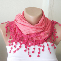 Red Grenadine Red Cotton Scarf with flower Lace by Periay
