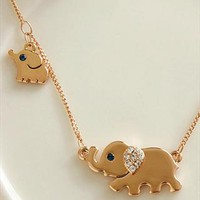 Cute Rhinestone Elephant Pendant Necklace from styleonline
