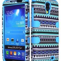 Bastex Hybrid Case for Samsung Galaxy S4 I9500 - Sky Blue Silicone / Aztec Tribal Hard
