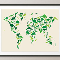 Dinosaur Map of the World Map, Art Print 18x24 inch (935)