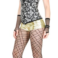 Liquid Metal Strech Spandex Hot Pants GOLD - 80's Costumes for Women at Oya Costumes