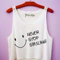 Never Stop Smiling Crop Tank Top