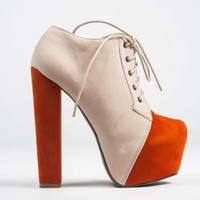 Cream and Orange Lace Up Bootie