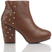 Brown Studded Ankle Boots