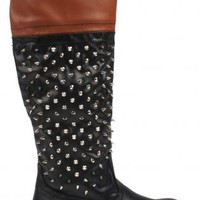 Black Spiked Knee High Boots with Brown Top
