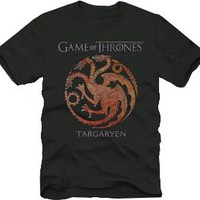 The Game of Thrones House Targaryen Dragon Adult Black T-shirt - Game Of Thrones - | TV Store Online