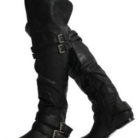Black Leatherette Double Buckle Cuff Over the Knee High Heel Boots Vickie 16 HI