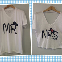 Double V-Neck Tee / V-Neck T-Shirt- MR. MRS.