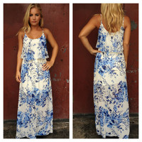 Blue Floral Print Jenissa Maxi Dress
