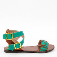 Athena Woven Ankle Sandals in Sea Green :: tobi
