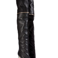 Vionnet - Suede/Leather Over-The-Knee Boots in Black