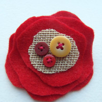 Red and Burlap - Felt Brooch