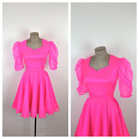 80s Bright Pink Party Dress / Neon Pink Barbie Dress / Full Circle Skirt / Puff Sleeves / Small