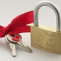 "Personalized ""Magical Love lock""... perfect Wedding or Anniversary gift ... engraved padlock"