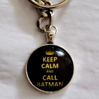 Call Batman Keychain. Keep Calm And Call Batman. Silver Tone Keychain.