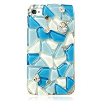 Generic Original Crystal Phone Case For iPhone 4/4S -Icy Ocean Blue Color Blue