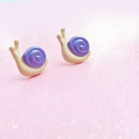 Subtle Purple Cream Snail Stud Earrings - Custom Colors Available - Polymer Clay Earrings - Hypoallergenic Nickel Free