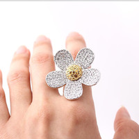 flower ring large in silver swarovski adjustable by bythecoco