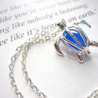 Turtle Necklace with royal blue Sea Glass - Perfect nautical gift for a beach lover friend FREE SHIPPING