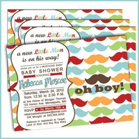 Mustache Bash Baby Shower Invitations - Little Man Baby Shower | lullabyloo - Cards on ArtFire