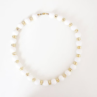 Vintage Bubble Necklace White and Gold Beads with Spring Ring Fastener